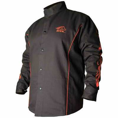Black Stallion Bx9c Bsx Contoured Fr Cotton Welding Jacket Blackflames Md