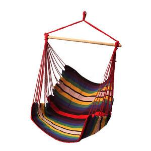 Indoor Outdoor Hammock Chair Swing Seat Garden Patio Yard Single Hanging Rope
