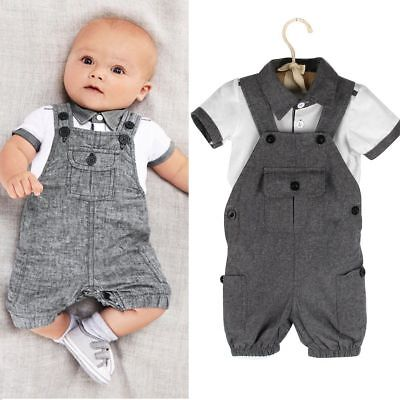 (2pcs Gentleman Newborn Infant Baby Boy T-shirt Tops+Bib Pants Outfit Clothes Set)