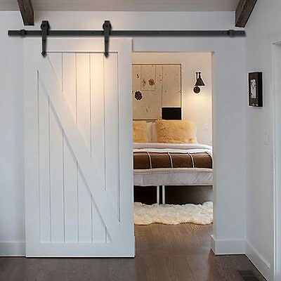 6FT European Stainless Sliding Barn Wood Door Closet Hardware Track System Set