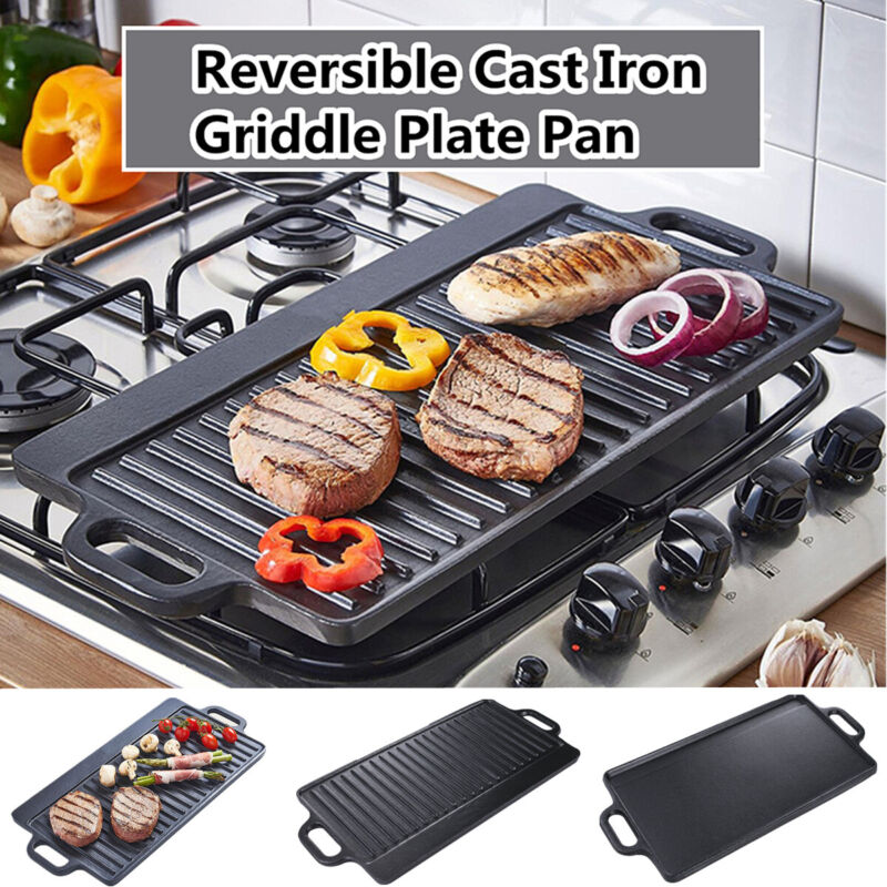 """Cast Iron Griddle Pan 18 x 9"""" Reversible Non Stick BBQ Skillet Pan Fry Barbecue"""