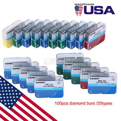 Usps 100pcs Dental Diamond Burs Kit For High Speed Handpiece Medium Fg 1.6mm