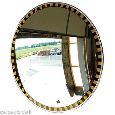 Outdoor Acrylic Caution Safety Border Convex Mirror 3 Bracket Mounts 30 New