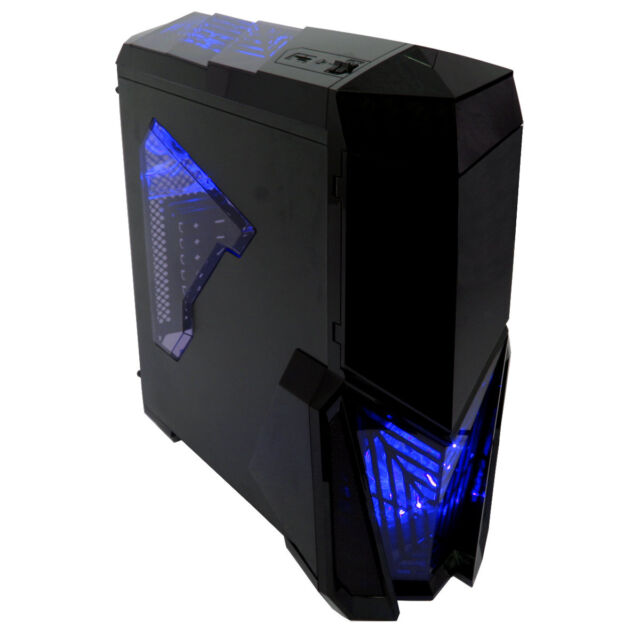 Game Max Destroyer Mid Tower PC Gaming Case With Window 4 Fans USB3 Blue LED