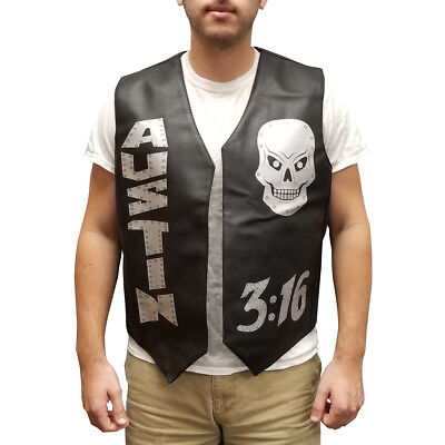 Stone Cold Vest Steve Austin 3:16 Skulls Halloween Costume Leather Wrestler Gift - Wrestler Halloween Costume