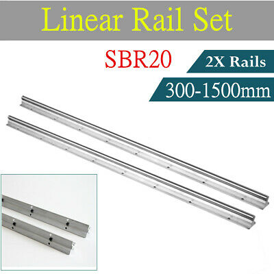 2pcs Sbr12 300-1500mm Linear Rail Slide Guide Fully Supported 12mm Shaft Rod Cnc