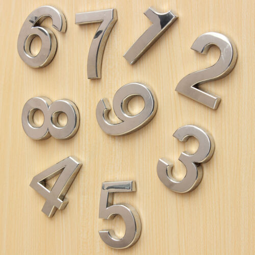 2x Polished Modern House Door Address Adhesive Number Digits Sticker Plate Sign