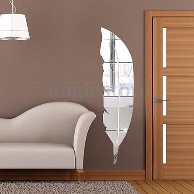 Removable 3D Home Mirror Wall Stickers Decal Art Vinyl Room Decor DIY Feather