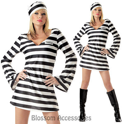 CL36 Convict Chick Prisoner Jail Bird Outfit Fancy Dress Halloween Costume & Hat