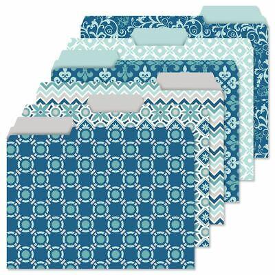24 Decorative Coastal Blue File Folders Set 6 Designs Documents Storage Gift New