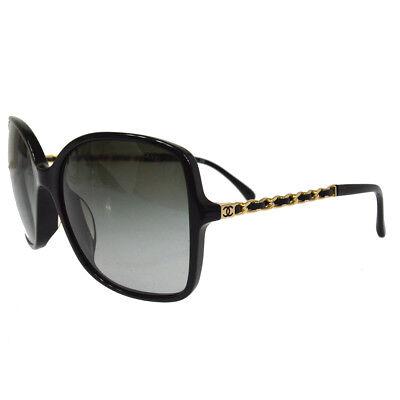 Authentic CHANEL CC Logos Gold Chain Sunglasses Eye Wear Black Italy AK22341