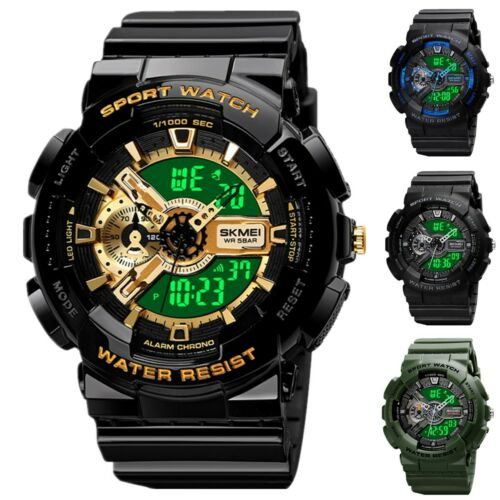 Digital Watch Fashion Military Men's Wrist Sport Quartz Analog 50M Waterproof US Jewelry & Watches