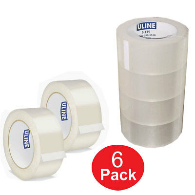 Uline 6 Rolls Clear Industrial Tape 1.8 Mil 2 X 110 Yds Sealing Carton Packing