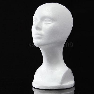 Female Styrofoam Hat Glasses Hair Wig Mannequin Stand Display Head Model Wchest