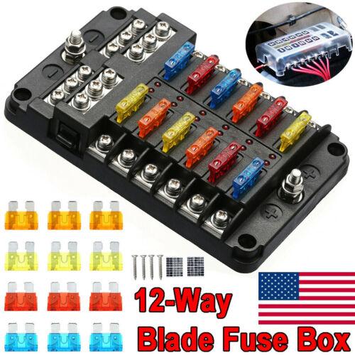 Waterproof 12-Way Blade Fuse Box Block Holder LED Indicator 12V 32V Auto Marine