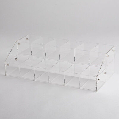 Clear Acrylic 2 Tier Shelves Countertop Display Plexiglass Riser With 12 Bins