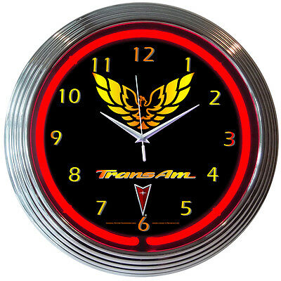 New Pontiac Trans Am Logo Red Neon Hanging Wall Clock 15 Diameter  # 8TRANS