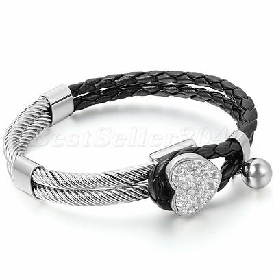 Womens Leather Stainless Steel Bracelet Heart Charm Braided Cuff Bangle ()