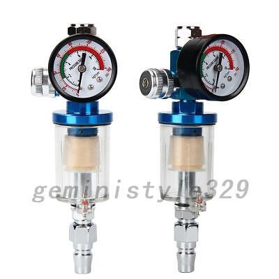New Mini Air Pressure Regulator Gauge Spray Gun & In-Line Water Trap Air Filter
