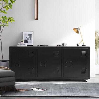 47.2 Tv Stand 2-tier 3 Door File Storage Metal Locker W Wheels Home Office