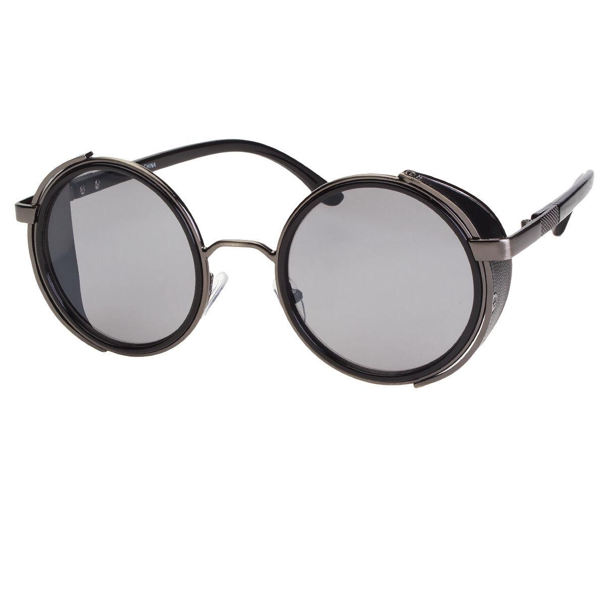 Black Old School Funky Goth Steampunk Side Shield Men Women Round Sunglasses