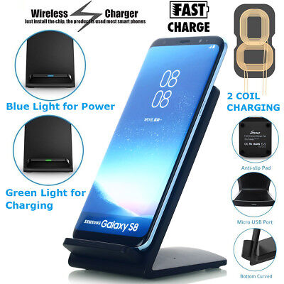 Qi Wireless Fast Charger Charging Pad Stand Dock Samsung Galaxy S9 S8 iPhone X 8