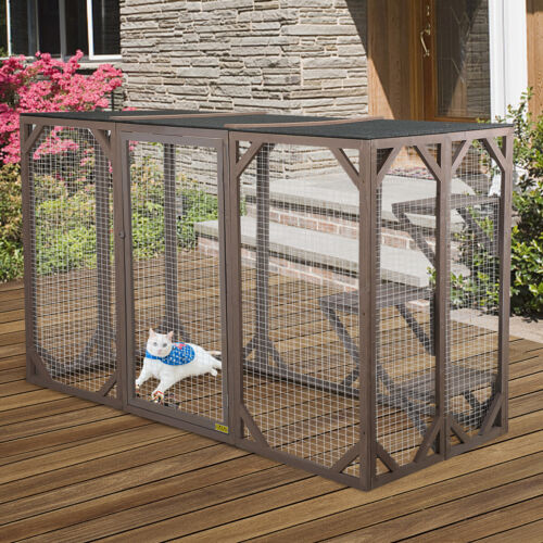 "71.5""L Large Rustic Wooden Outdoor Cat Pet Enclosure Cage Kennel Playhouse"