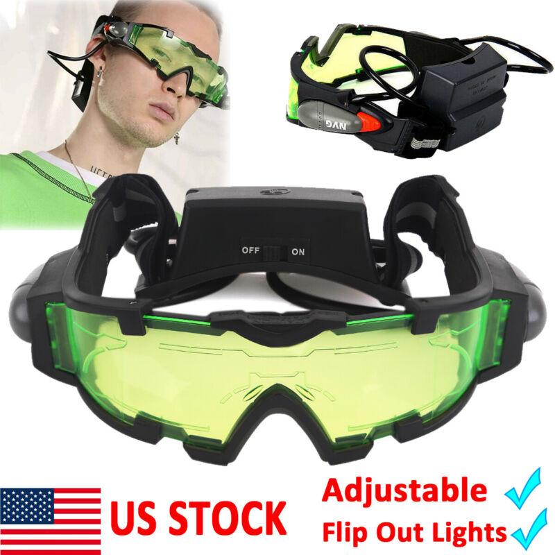 Adjustable LED Night Vision Goggles Eyeshield Glasses w/Flip Out Lights