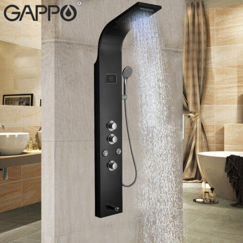 Black Shower Panel Tower System,LED Display Rain Waterfall Massage Jets Tub Tap
