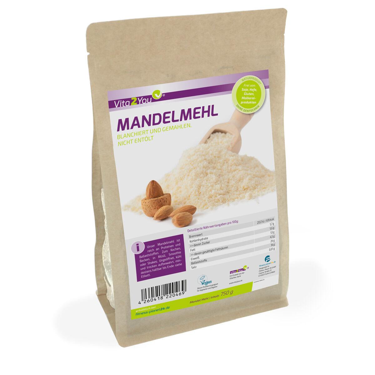 Vita2You Mandelmehl 750g - blanchiert und naturbelassen - Premium Qualität
