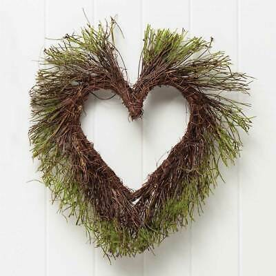 Natural Twig Heart - FAUX & NATURAL TWIG HEART WITH MOSS WREATH FARMHOUSE DECOR FLOWER FLORAL