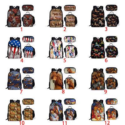 Cool Horse Art Print Women Backpack Boys Girls School Bags Lunch Box Pencil -