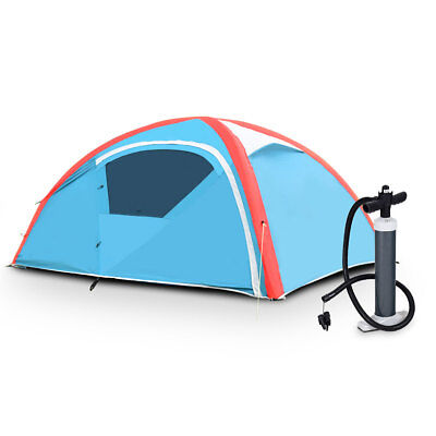 3 Person Inflatable Family Tent Camping Waterproof Wind Resistant w/ Bag Pump