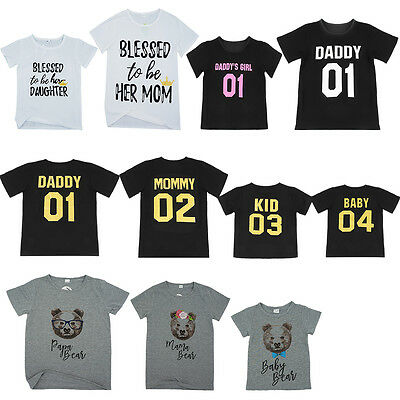 Dad Mom Kid Baby Family Matching Outfits T-shirt Blouse Tops Tee Clothes Romper - Baby T-shirt Romper