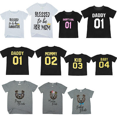 Dad Mom Kid Baby Family Matching Outfits T-shirt Blouse Tops