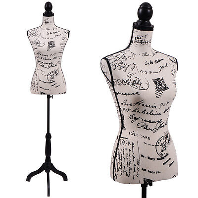 Female Mannequin Torso Clothing Dress Form Display W Black Tripod Stand New