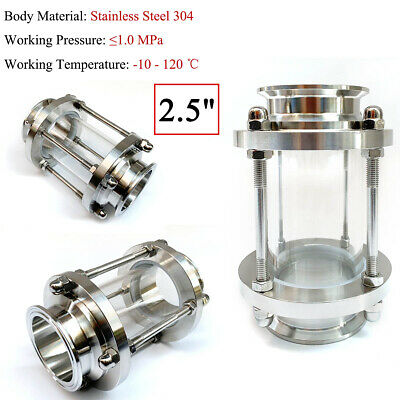2.5 Inch Stainless Sight Glass Tri Clamp Sanitary Ss 304 Straight Type Flow View