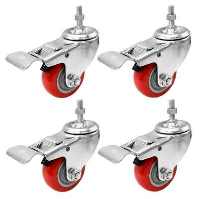 4 Pack 3 Inch Stem Caster Swivel With Front Brake Red Polyurethane Caster Wheels