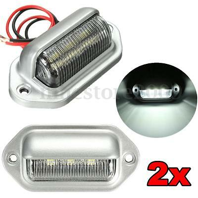 2x Chrome 6 LED License Plate Tag Light Boat RV Truck Trailer Interior Step  ()