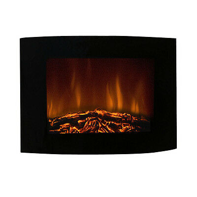 2000W LED Flame Effect Wall Mounted Electric Fire Fireplace Heater Curved Glass