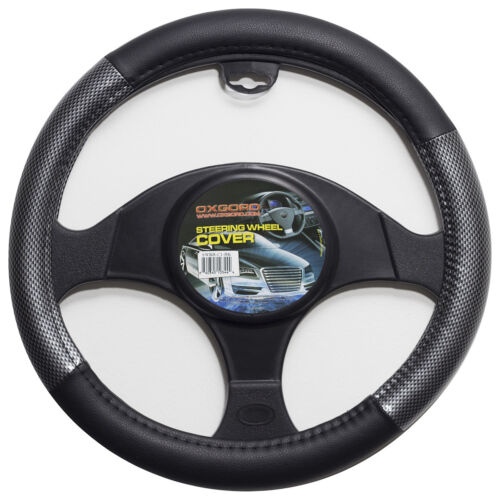 Carbon Fiber Steering Wheel Cover for Car Truck Van SUV Gray Black Protector