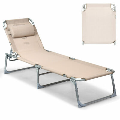 Adjustable Pool Chaise Lounge Chair Bench Recliner Beach Outdoor Patio Yard
