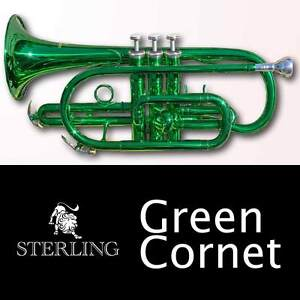 GREEN-Pro-Sterling-Bb-CORNET-With-Case-BRAND-NEW