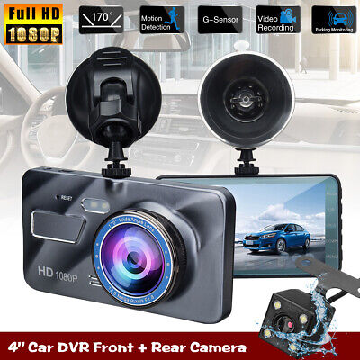 4'' 1080p HD Dual LCD Dash Cam Front & Rear Car Truck DVR Video Recorder Camera
