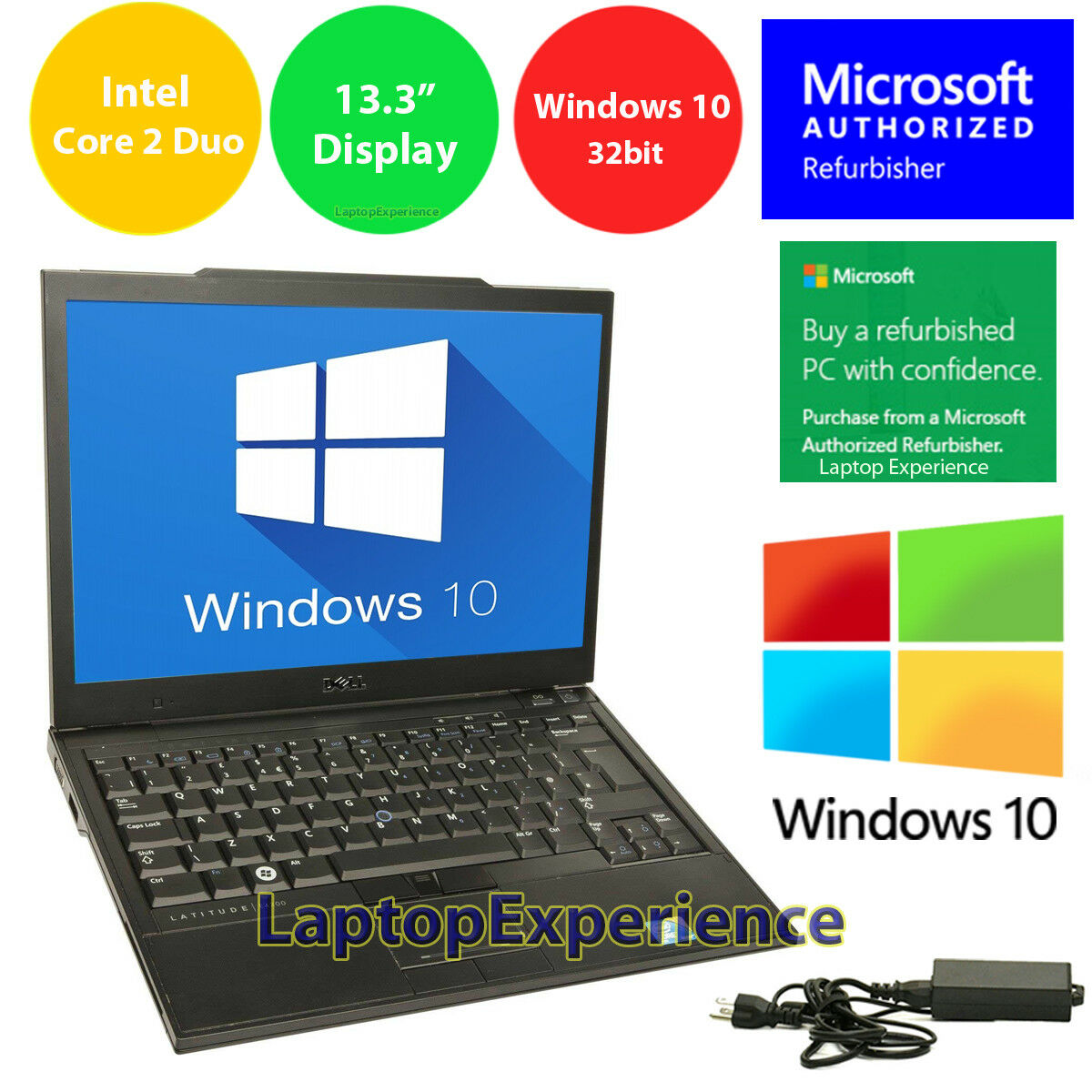 "DELL LAPTOP LATITUDE CORE WINDOWS 10 32bit WIN DVD WiFi NOTEBOOK PC 13.3"" HD 3GB"