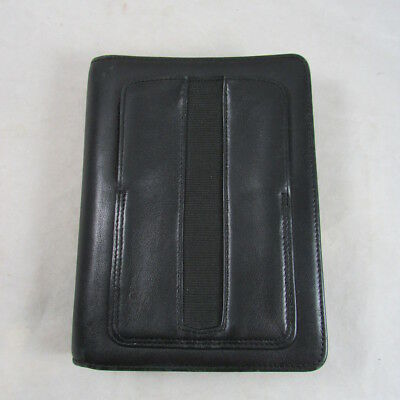Black Erunner Organizer Black Leather Planner 6 Ring Binder Zippered Epocket