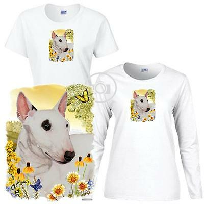 Bull Terrier Dog Floral Art Scene Ladies Short / Long Sleeve White T Shirt S-3X Bull Terrier Ladies T-shirt