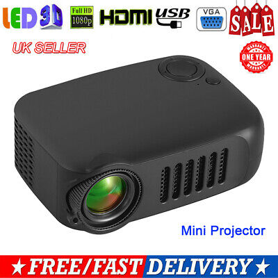 Portable Mini Pocket LED Projector HD 1080P Home Theater Cinema USB HDMI A2000