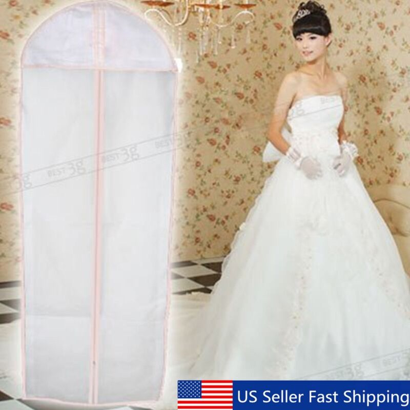 "71"" Breathable Bridal Wedding Dress Gown Garment Cover Storage Bag   US"