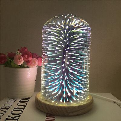 3D Glas Starburst Bunte Tischlampe USB Akzent Nachttisch Nachtlicht - Akzent Tisch Lampe